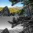 Photo de paysage en couleur et en noir et blanc
