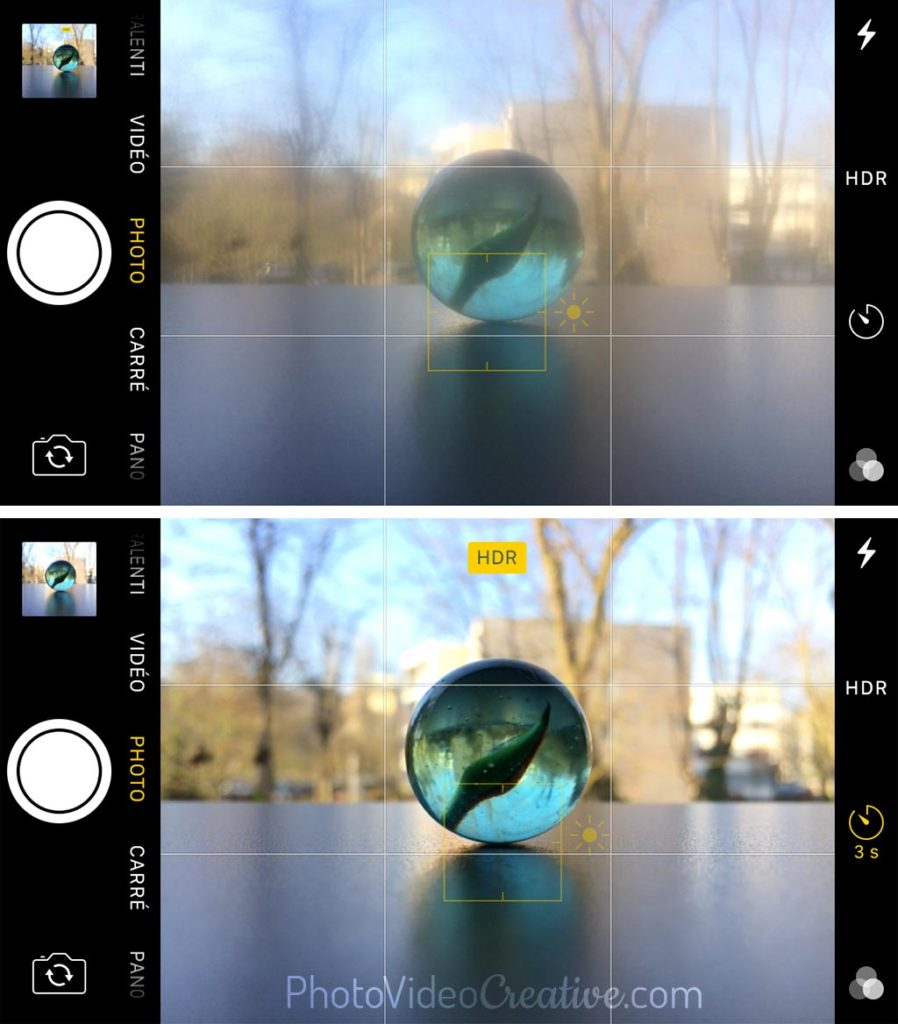 With and without fingerprints on smartphone lens