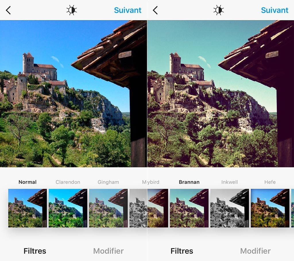 Les filtres de l'application Instagram