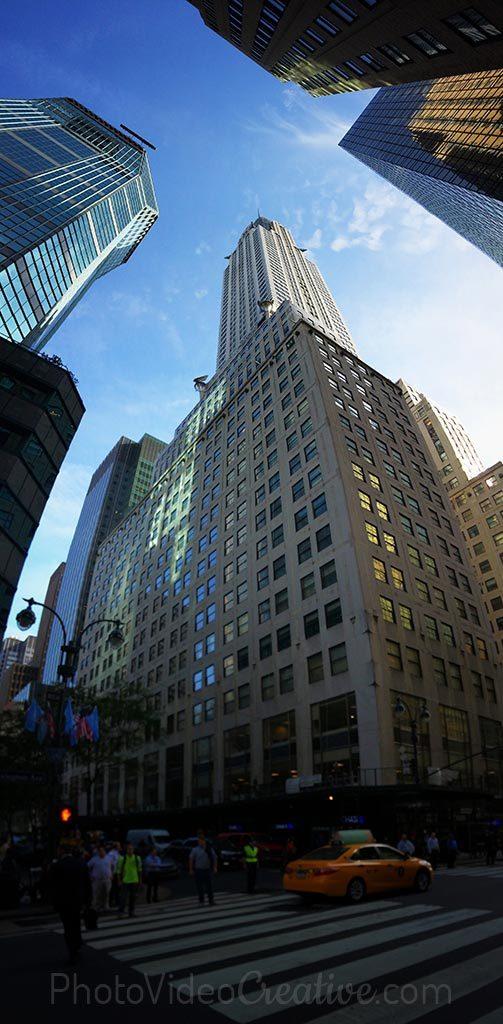 Photo panoramique verticale de la tour Chrysler à New York