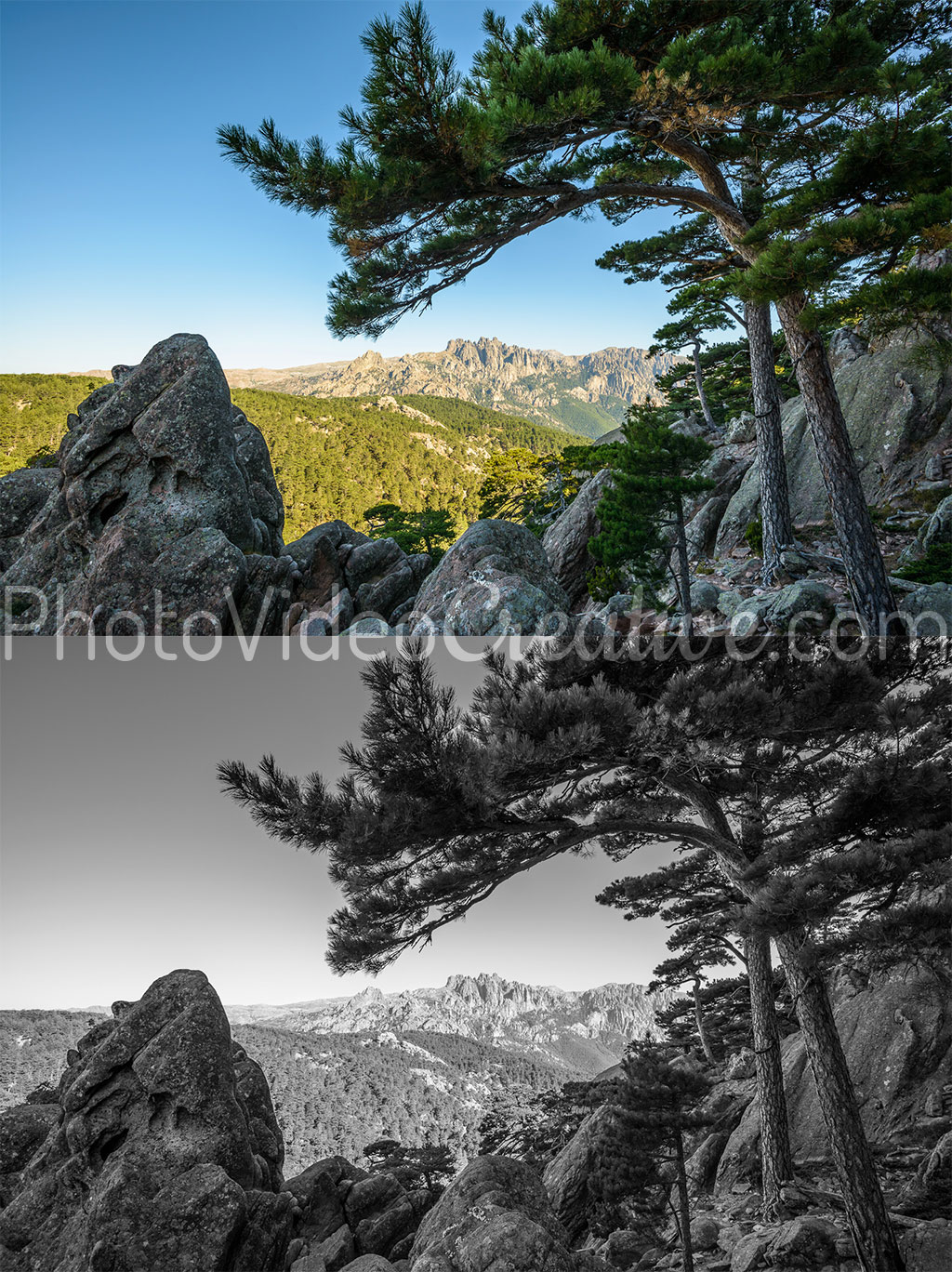 Color landscape photo and Black and white landscape photo