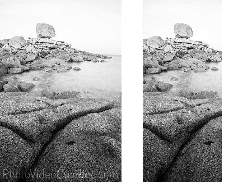 Recadrage avec un ratio panoramique vertical d'une photo de paysage noir et blanc