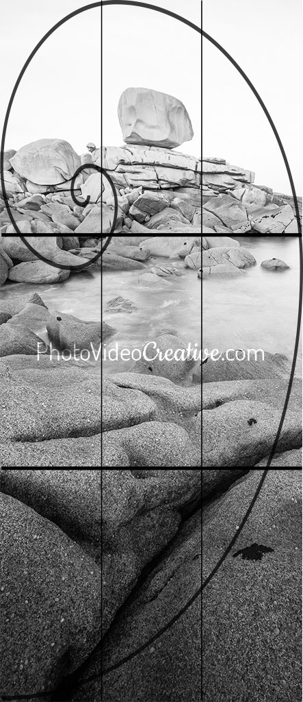 Photo cropping with vertical panoramic aspect ratio with golden spiral and rule of thirds