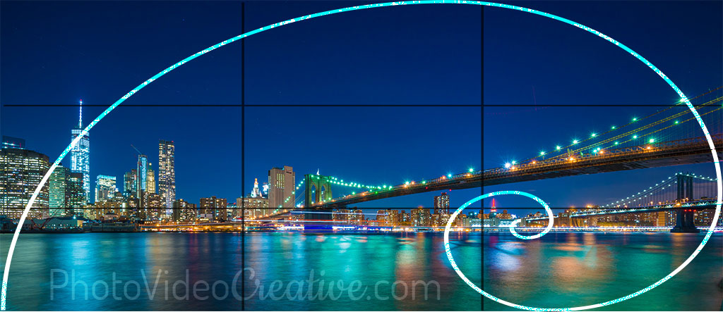 Photo cropping with horizontal panoramic aspect ratio with rule of thirds and golden spiral