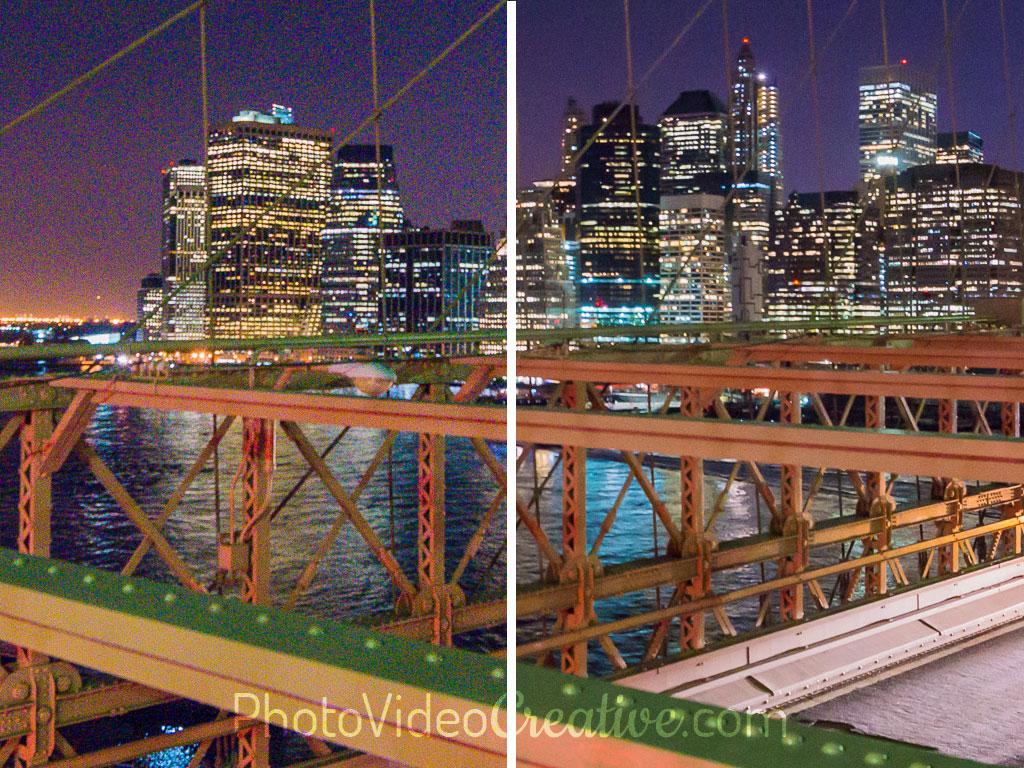 Traitement du bruit numérique avant/après d'une photo à sensibilité ISO élevée