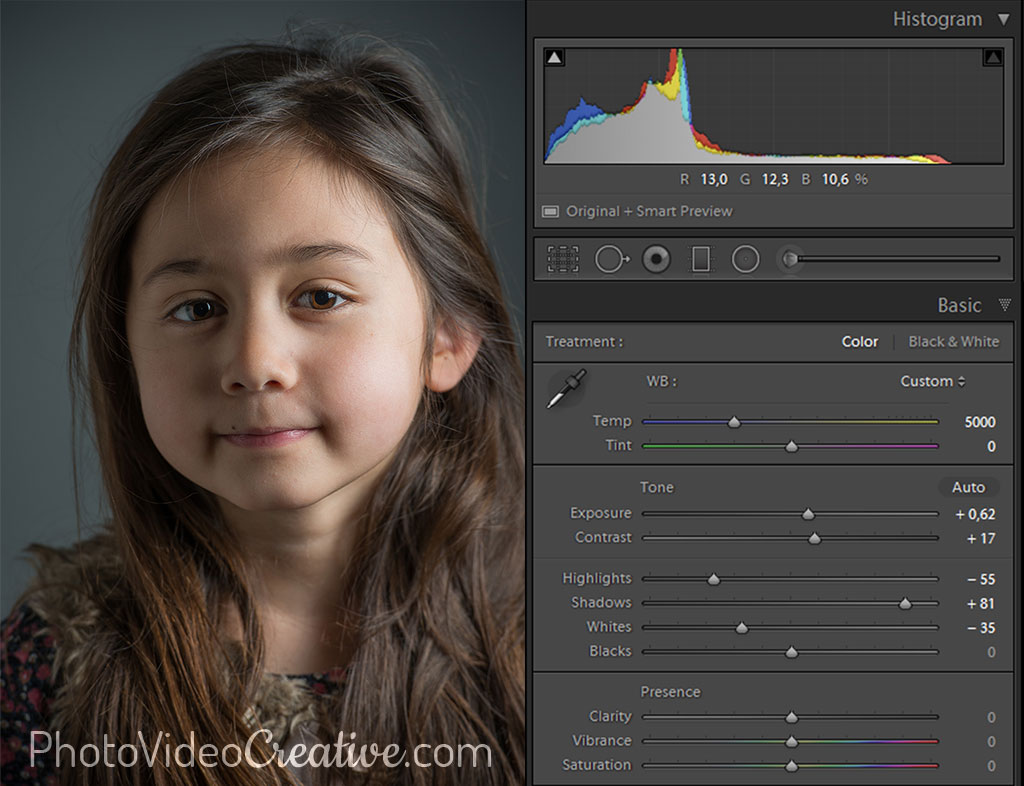 Balanced tonality settings in Lightroom at photo development