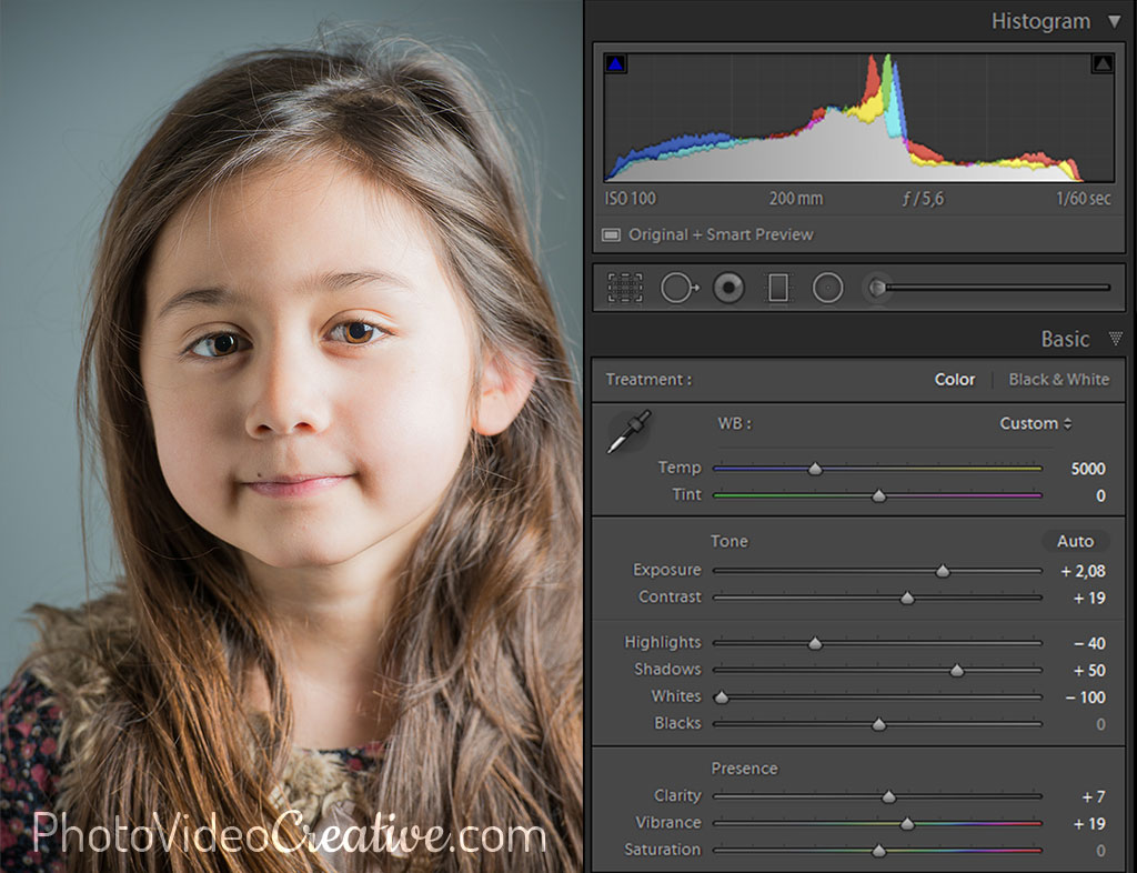 High key tonality settings in Lightroom at photo development