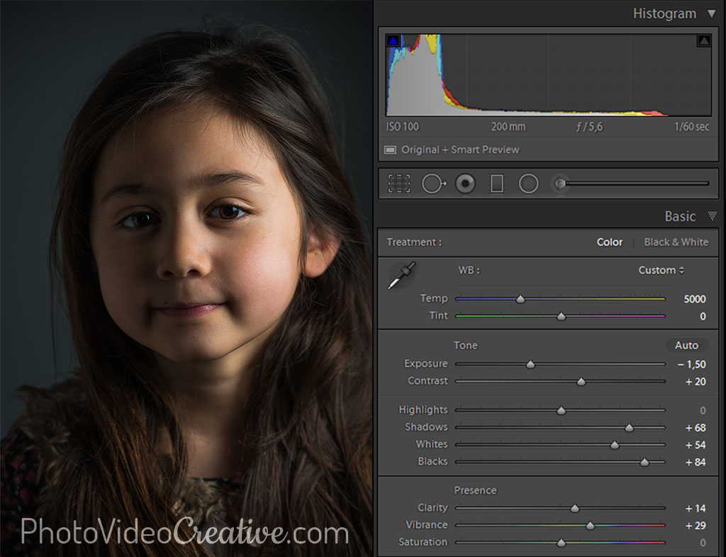 Dark tonality settings with Lightroom at photo development