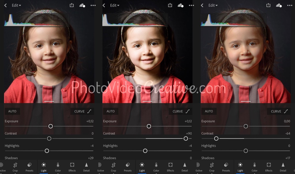 3 contrast adjustments and associated histogram in Adobe Lightroom
