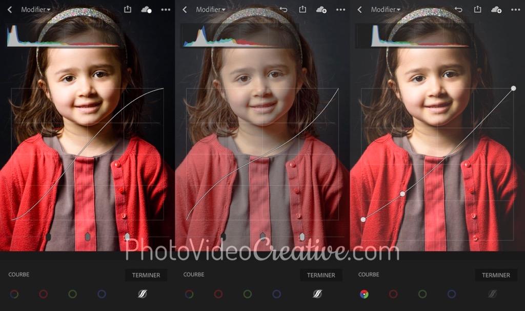 3 développements de contraste avec 3 profils de courbe tonale dans Adobe Lightroom