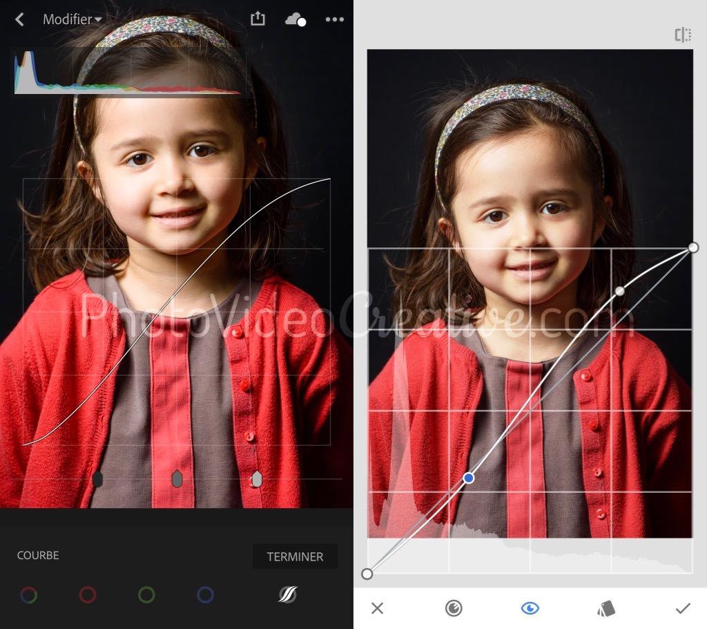 Réglage global du contraste avec l'outil de courbe tonale dans Adobe Lightroom et Google Snapseed