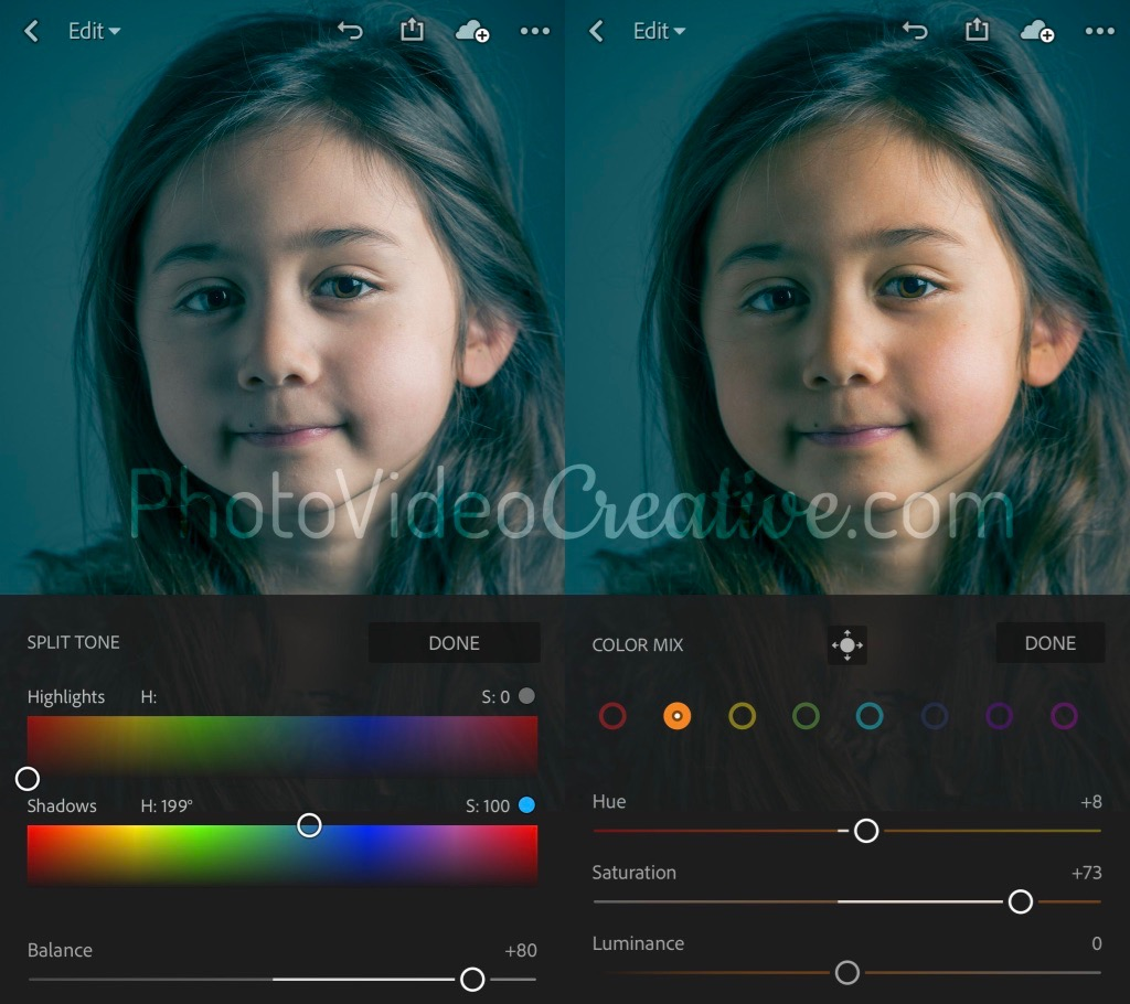Color grading a portrait photo with Adobe Lightroom CC for mobile