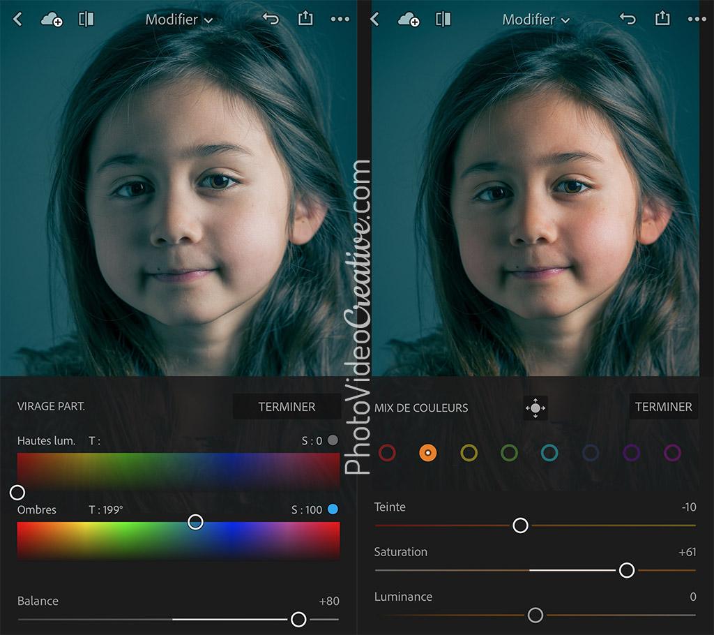 Développement d'une palette de couleur avec Lightroom Mobile
