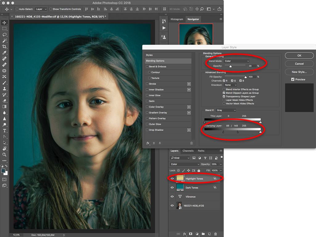 Color grading a portrait photo in Adobe Photoshop