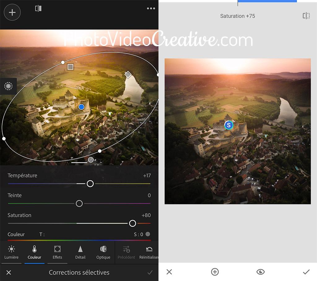 Outil de saturation sélective dans Adobe Lightroom et Google Snapseed