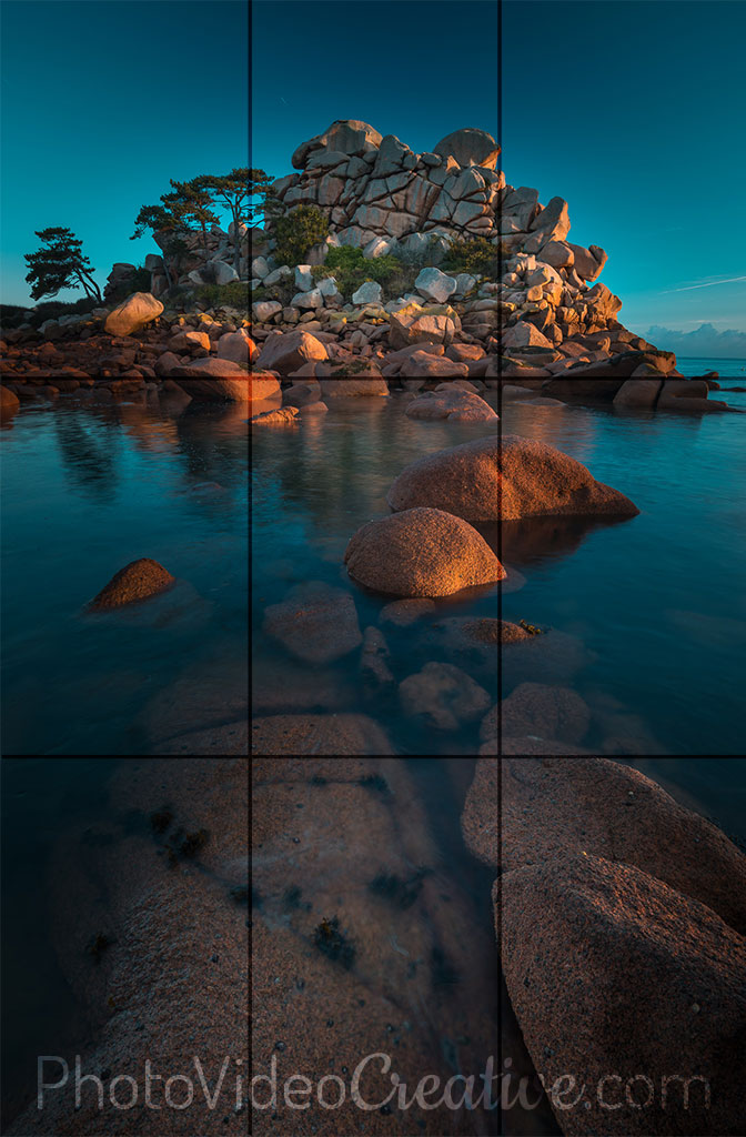 Landscape with composition in portrait orientation according to the rule of thirds