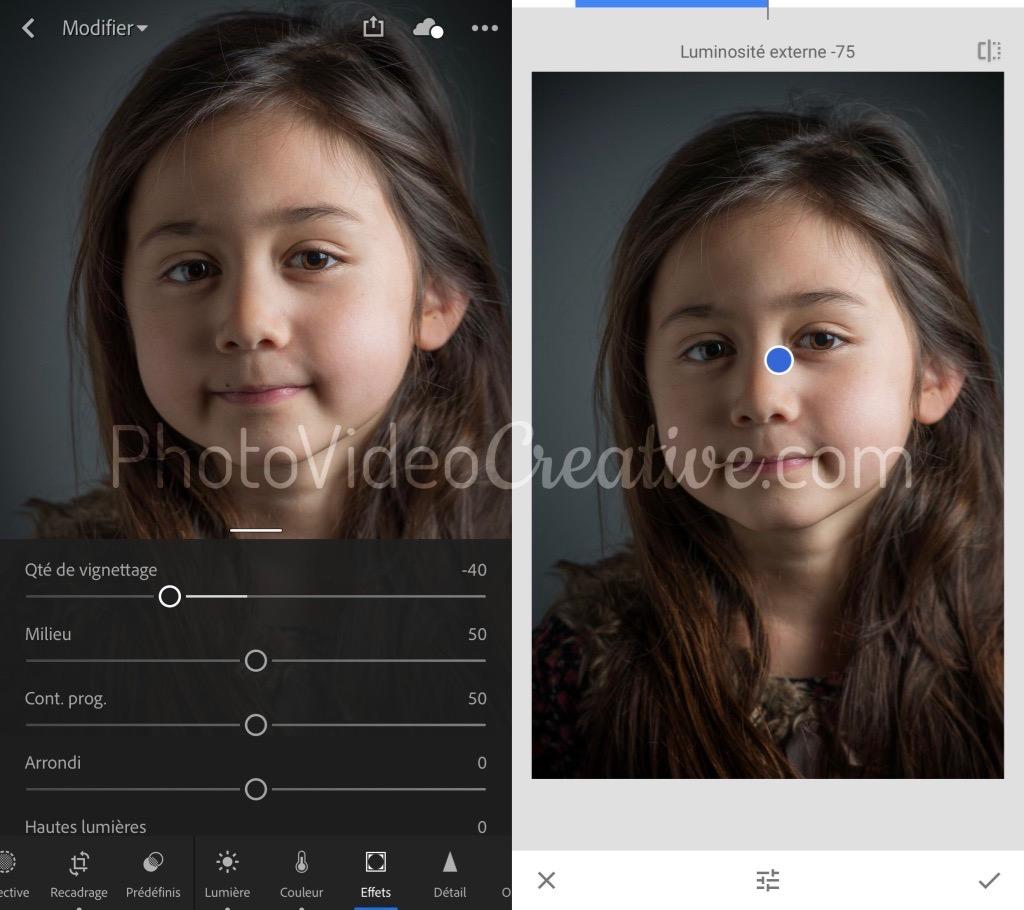 Outil vignette dans Adobe Lightroom et Google Snapseed